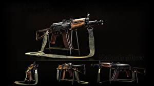 Обои для рабочего стола Автоматы Черный фон Российские AK 74 AKS-74U, Kalashnikov Армия