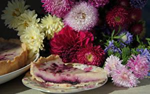 Фотография Астры Натюрморт Пирог Чизкейк Часть Цветок Цветы