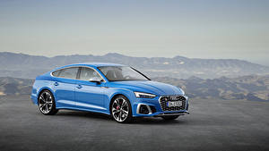 Обои Audi Голубые Металлик 2019 S5 Sportback TDI Worldwide машина