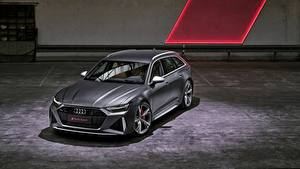 Фотографии Audi Серая Универсал 2020 2019 V8 Twin-Turbo RS6 Avant Автомобили