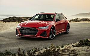 Фотография Audi Красная Универсал 2020 2019 V8 Twin-Turbo RS6 Avant Автомобили