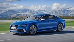 Картинки Audi Синий Скорость Сбоку Размытый фон RS7, Sportback performance, 2015 Автомобили