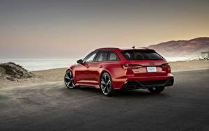 Обои Audi Красная Сзади Универсал RS 6 2020 2019 V8 Twin-Turbo Avant машины