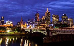 Фотографии Австралия Мельбурн Здания Речка Мост Уличные фонари Ночные