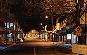 Фотография Австралия Мельбурн Здания Улица В ночи Уличные фонари