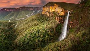 Обои для рабочего стола Австралия Парки Гора Леса Водопады Govetts Leap Falls Blue Mountains National Park Природа
