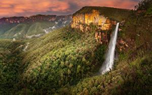 Картинка Австралия Парки Гора Леса Водопады Govetts Leap Falls Blue Mountains National Park Природа