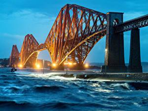 Обои Австралия Речка Мосты Волны В ночи Уличные фонари Perth Города