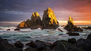 Фотографии Австралия Волны Рассвет и закат Камни Сидней Залива Утес