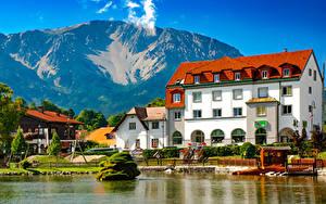 Фотографии Австрия Берег Здания Гора Пирсы Puchberg am Schneeberg город