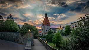 Картинка Австрия Облака Башня Freistadt Города
