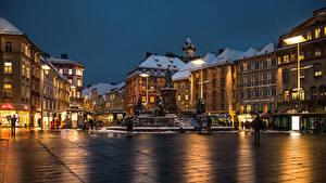 Фотография Австрия Дома Вечер Городской площади Graz