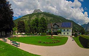 Фотография Австрия Здания Парки Горы Газон Скамья Altaussee Города