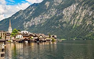 Обои Австрия Озеро Гора Халльштатт Здания Берег Bad Goisern, Gmunden County Города