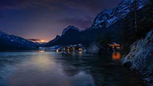 Картинки Австрия Горы Озеро Рассветы и закаты Альпы Hintersee, Ramsau