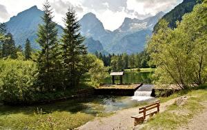 Картинки Австрия Горы Альп Дерево Скамейка Schiederweiher, Hinterstoder Природа