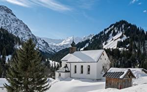 Фотографии Австрия Гора Зимние Церковь Альп Снега Bergdorf Baad