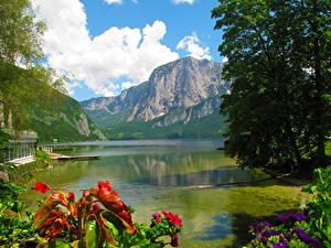Фото Австрия Пейзаж Гора Озеро Облако Деревья Altausseer See Природа