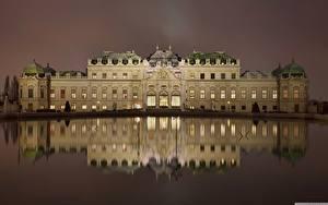 Картинки Австрия Вена Дворец Ночь Отражается Belvedere