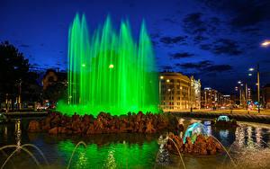Фотография Австрия Вена Фонтаны Ночь Улиц Уличные фонари Города