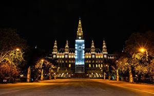 Обои Австрия Вена Дома Ночные Уличные фонари Rathaus