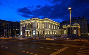 Обои для рабочего стола Австрия Вена Здания Улиц Ночь Уличные фонари город