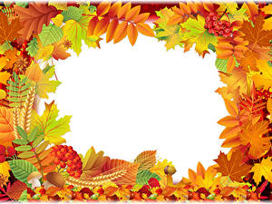 Картинка Осенние Ягоды Листва Жёлудь Шаблон поздравительной открытки