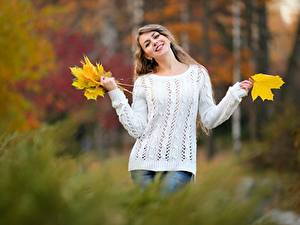 Обои Осенние Боке Позирует Листва Улыбается Свитере девушка
