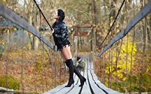 Фотографии Осень Мост Боке Брюнетка Куртки Ноги Туфлях Гольфы молодые женщины