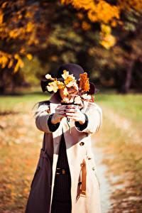 Фотография Осенние Листва Рука Шляпы Пальто девушка