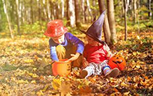 Фотографии Осенние Хэллоуин Мальчишка Вдвоем Шляпы Листья ребёнок