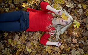 Фотография Осень Листья Блондинок Свитере Джинсов Лежа Взгляд Julia Природа