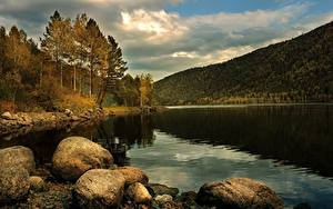 Обои Осень Озеро Камень Горы Лес Пейзаж Природа