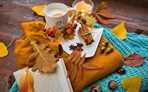 Фотографии Осень Орехи Кофе Листва Книга Кружки Жёлудь