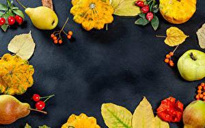 Картинки Осень Тыква Яблоки Груши Лист Шиповник плоды Шаблон поздравительной открытки Пища