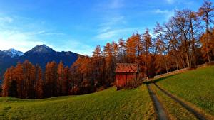 Картинка Осень Дороги Горы Поля Природа