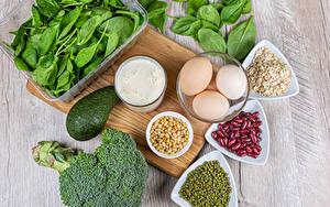 Картинка Авокадо Молоко Овощи Мюсли Горох Разделочная доска Яйца Фасоль бобы Здоровое питание