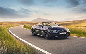 Обои BMW Синий Металлик Кабриолет 2021 M440i xDrive Cabrio Автомобили