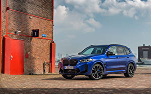 Картинки BMW Кроссовер Синих 2021 X3 M Competition Worldwide Автомобили
