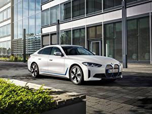 Обои БМВ Белая 2021 i4 eDrive40 Worldwide Автомобили