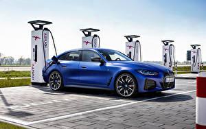 Фото БМВ Синие Металлик i4 M50, (Worldwide), (G26), 2021 машины
