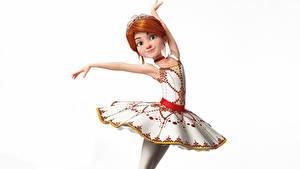 Фото Белом фоне Балета Платья Позирует Рыжие Balerina (Felis) Мультфильмы 3D_Графика Девушки