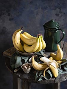 Картинки Бананы Чайник Натюрморт Сахар Пища