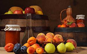 Фото Бочка Варенье Груши Сливы Абрикос Бутылка Банке Продукты питания