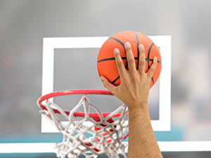 Фото Баскетбол Рука Мяч Размытый фон Спорт