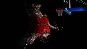Фотография Баскетбол Мужчины Черный фон Прыжок Мячик спортивная