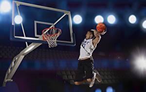 Фотографии Баскетбол Мужчины Прыжок Мяч Спорт