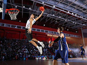 Фотография Баскетбол Мужчина Прыгает Мяч Руки Униформа спортивный