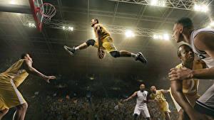 Фотографии Баскетбол Мужчина Прыжок Мяч Ноги спортивный