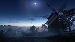 Картинка Battlefield 1 Ночные Мельница Луной Село Игры 3D_Графика